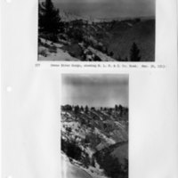 Owens River Gorge, showing S. L. P. & I. Co. road & Owens River Gorge, showing S. L. P. & I. Co. road and tunnel portal