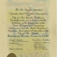 Invitation to the opening of the Los Angeles Aqueduct and Exposition Park