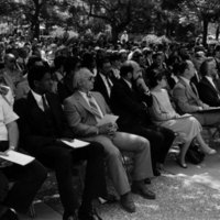 Group of mourners at the memorial service of Tomás Rivera