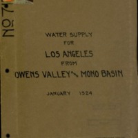 Additional water supply for City of Los Angeles in Owens Valley and Mono Basin