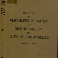 Purchases of water in Owens Valley by City of Los Angeles